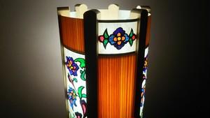 切り絵デザイン(宝相華) 木と深山和紙の 木製 ランプ   No.   028
