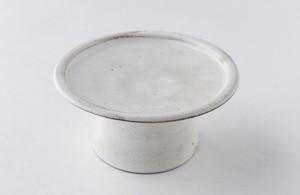 高木剛 粉引高台皿4.5寸