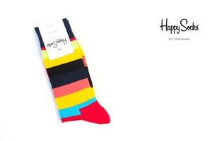 ハッピーソックス|happy socks|クルー丈カジュアルソックス|ボーダー柄ソックス|ネイビー|60-5081