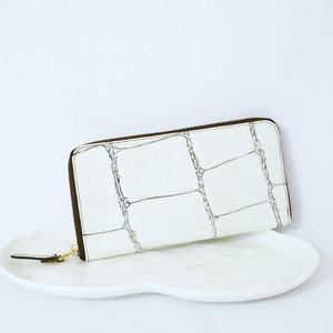 【VIA DOAN】ラージクロコ/ラウンド長財布/ホワイト