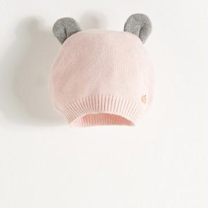 カシミア混 クマ耳ニット帽 ピンク