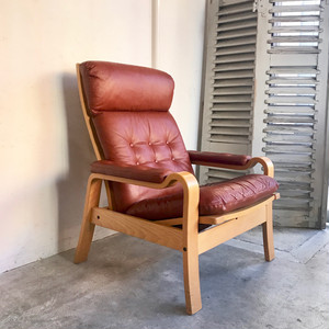 Leather Hi-Back Lounge Chair 70's オランダ