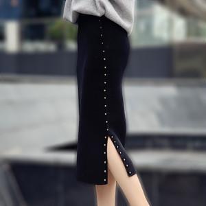 【ボトムス】ファッションリベットハイウエスト無地スカート22814904