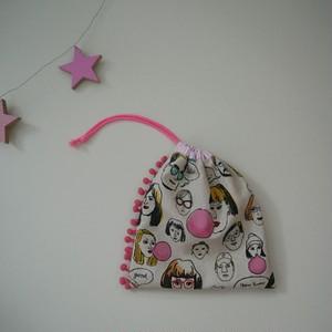 巾着 ☆ フェイスプリント × ピンク