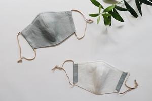 【夏マスクに!】リネンのカラーマスク(リバーシブル) クスミント × シルクリネンオフホワイト 1枚【Mサイズ 女性用】