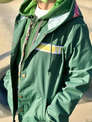 MINORITY×SAORI織り Hooded Windbreaker Coaches Jacket/フード付きコーチジャケット/Forest Green