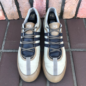 Y3 Yohji Yamamoto Leather Trainers UK10  Beige×Brown Gray