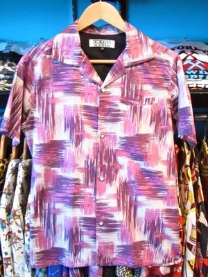 S/Sシャツ 80'sかすりペイント ライトグレー×パープル