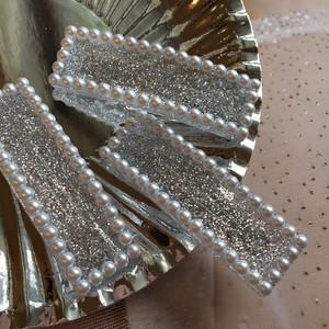 glitter pearl barrette