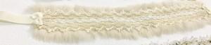 白のファー帯締め&髪飾り