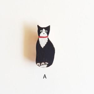 大塚砂織 ブローチ 黒猫