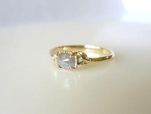 ナチュラルダイヤと植物のK14の指輪Ⅱ(シルバー)