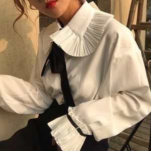 【配送優先】【トップス】ファッションリボンラウンドカラーシングルブレストシャツ26842271