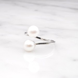 S925 DOUBLE PEARL OPEN RING SILVER