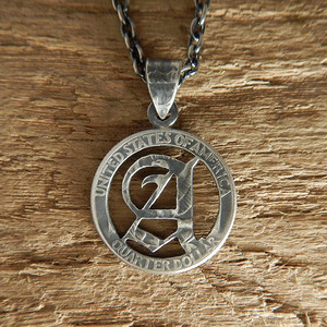 【受注生産】OLD ENGLISH -A~Z- CUTCOIN PENDANT 25¢【WASHINGTON QUARTER DOLLAR】
