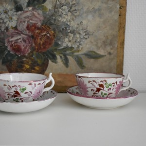 Pink Lustre Pealware Cup & Saucer b