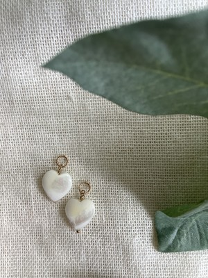 white shell Heart charm