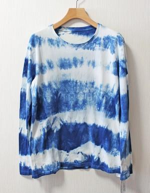 藍染め長袖 綿Tシャツ M ユニセックス(ANT-33)ボーダー