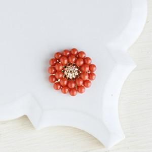 【数量限定・ブローチ】天然色 本赤珊瑚 レトロ お花