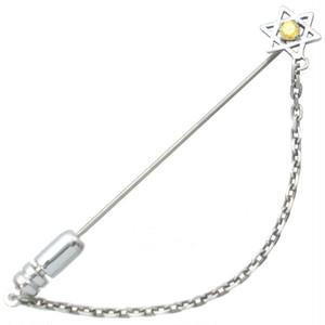 イエローC Z ホワイト ヘキサグラム 六芒星 チェーン  シルバー ラペルピン*BK-1213