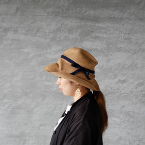 mature ha.(マチュアーハ)BOXED HAT 11cm brim mix brown × navy 送料無料