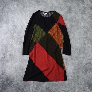 レディース 80年代 ヴィンテージ デザイン ワンピース アメリカ古着 ブラック M 80's Usa  Vintage  Design  Dress