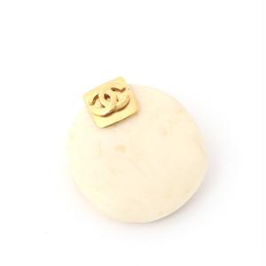 CHANEL/シャネル マーブルカラーストーンブローチ ゴールド×ホワイト (50054)