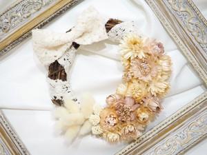 ヘリクリサムと布レースリボンのリース〜mini〜