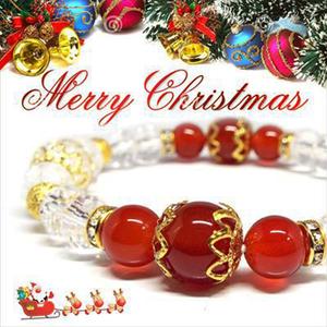 【Happy Xmas♪】天然石カーネリアン&クラック水晶 クリスマスデザインブレスレット(10mm)★