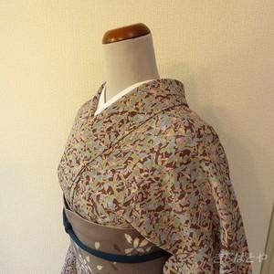 洗える着物 油彩画のような小紋 単衣