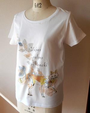 オリジナルデザイン白Tシャツ@キツネ