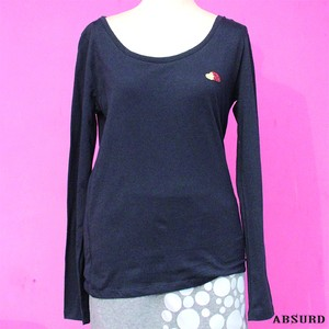 【数量限定!】 ABSURD ボートネック ロングTシャツ メンズ レディース サイズ XS S  刺繍  ロンT  黒 BLACK  ヘッジホッグ アブサード ワンポイント HEDGE(lB)