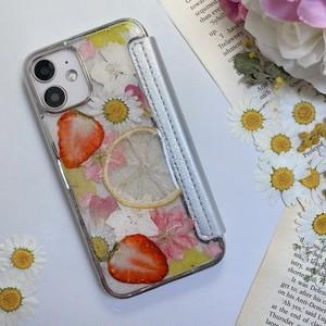 【手帳型:12mini対応】押し花 iPhone case