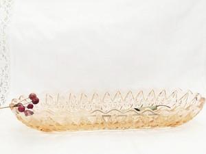 アンティーク ヴィンテージ プレスガラス   サーモンピンク ガラス器 フランス