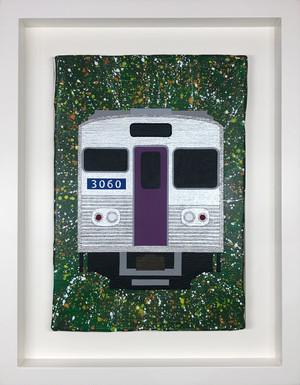 大阪市営地下鉄30系 オリジナル原画 キャンバスにアクリル絵具