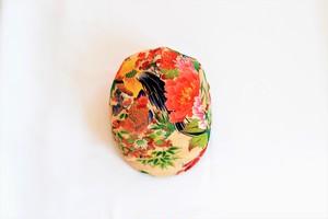 着物地ハンチング:鶏柄 花尽くし カラフル 着物リメイク 送料無料 1901h01