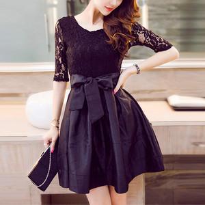 Aラインフレアミニドレス 黒