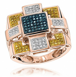 BLUE YELLOW DIAMOND RING 10K ROSE GOLD 0.55CT