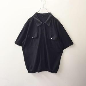 メッシュ素材半袖シャツジャケット ブラック色 メンズ 古着