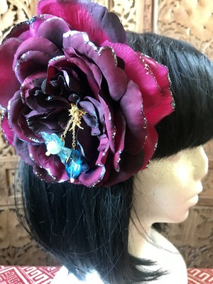 Flower hair ornament-Wine2