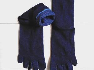 ◆100%自然素材 天然灰汁発酵建て 本藍染◆ ヘンプ&コットン(EM加工繊維)5本指ソックス