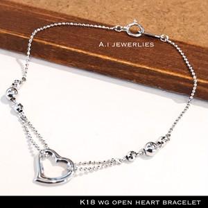 k18WG ブレスレット ハート 18金 ホワイトゴールド ハート ボール デザイン ブレスレット / k18WG heart ball design necklace 18cm