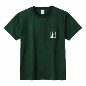 ロードトリップロゴ胸ポケTシャツ フォレスト×白