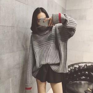 【トップス】配色長袖ハイネック切り替えセーター