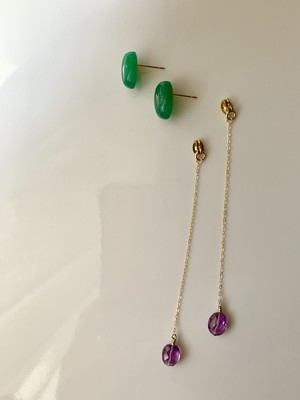 back chain / green onyx × amethyst【ピアス/イヤリング】