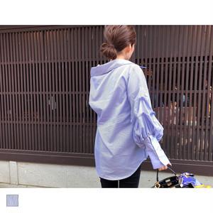 ボリュームスリーブストライプシャツ|A04023