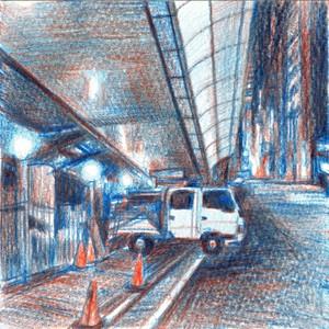 赤青鉛筆ドローイング 四ツ橋