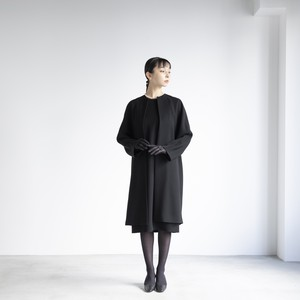 no-collar long coat jacket