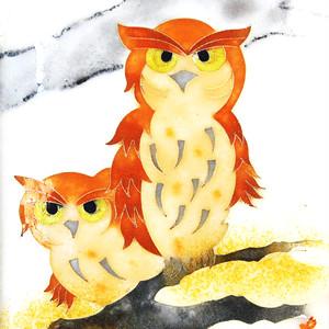 フクロウ七宝額 額縁付き /  Two owls
