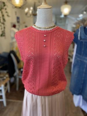 フランス古着 ピンク袖なしニット